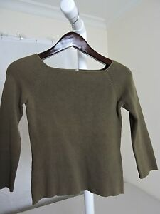 Banana-Republic-Stretch-Cotton-Blend-Green-Boat-Neck-3-4-Sleeve-Sweater-Size-XS