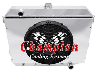 1968-1973 Plymouth Satellite Big Block Aluminum 3 Row Champion Radiator /& Fans