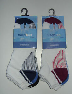 FRESH FEEL HIGH QUALITY TRAINER SOCKS (EACH PACK CONTAINS 3 PAIRS) SIZES 6-11