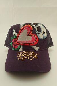 NWOT Ed Hardy Christian Audigier Skull   Hearts Purple Truckers Cap ... afb41cd13b3d