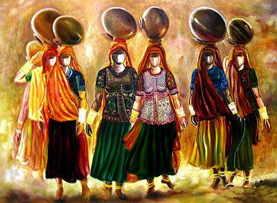 "Rajasthani Matt Black Framed Painting By Dreamzdecor-11""x 15"" Size."