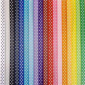 10mm WHITE and Black Dots 10 Metres Polka Dot Grosgrain Ribbon