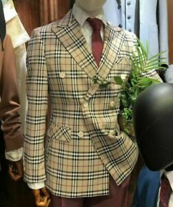 Checked-Men-039-s-Blazer-Double-Breasted-Peaked-Lapel-Jacket-Party-Groom-Custom-Made