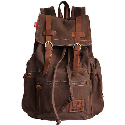 Vintage Men's Canvas Leather Hiking Travel Military Backpack Satchel School bag