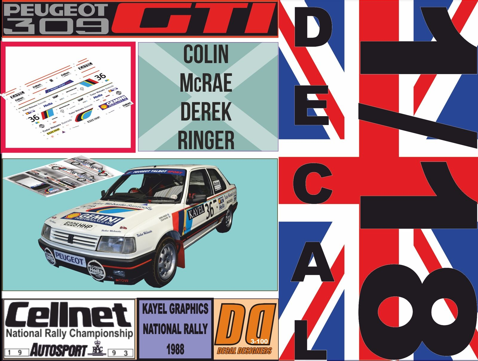 DECAL 1 18 PEUGEOT 309 GTI COLIN MCRAE NATIONAL RALLY 1988 (06)