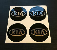 Set 4 x 110mm ALLOY WHEEL STICKERS Kia Chrome Effect logo centre cap badge