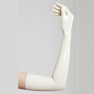 New-Rubber-Gloves-Latex-Unisex-White-Five-Finger-Handschuhe-Size-S-XXL