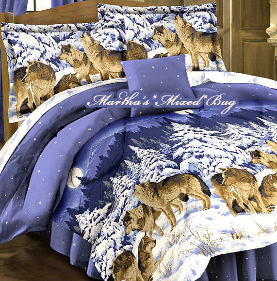 WOLVES-WOLF Pack Wildlife CABIN LODGE Animal Print BLUE COMFORTER SHEETS Bed SET