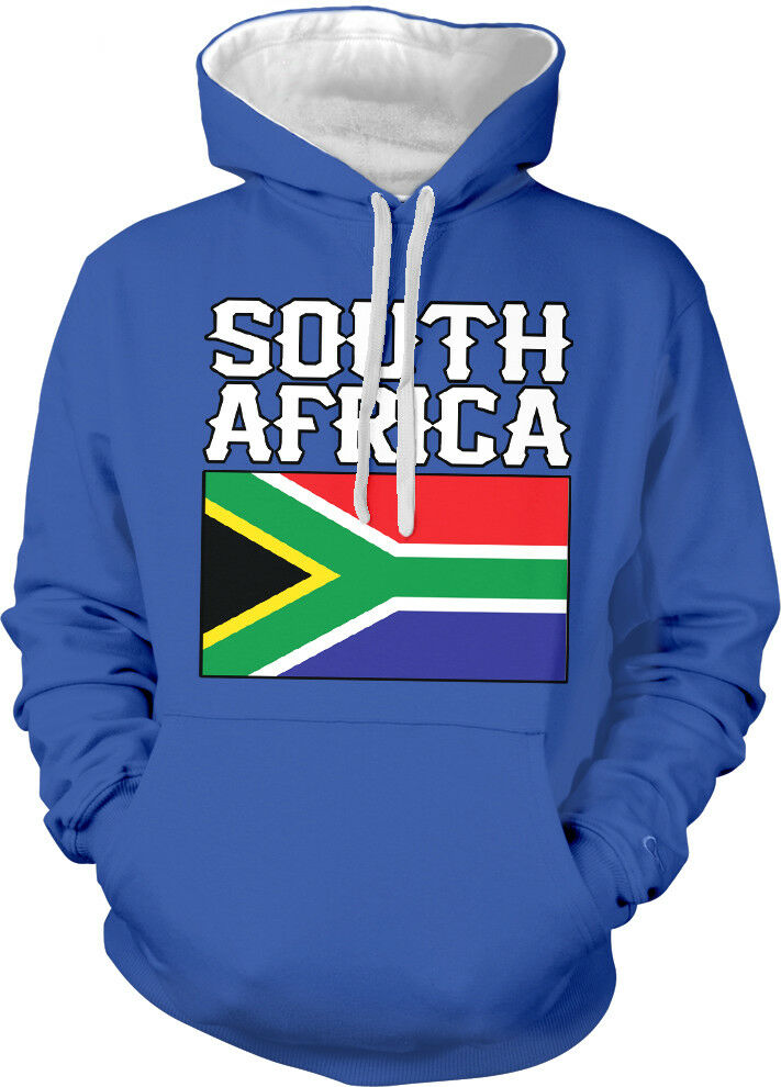 South Africa Flag colors Font African Country Soccer Two Tone Hoodie Sweatshirt