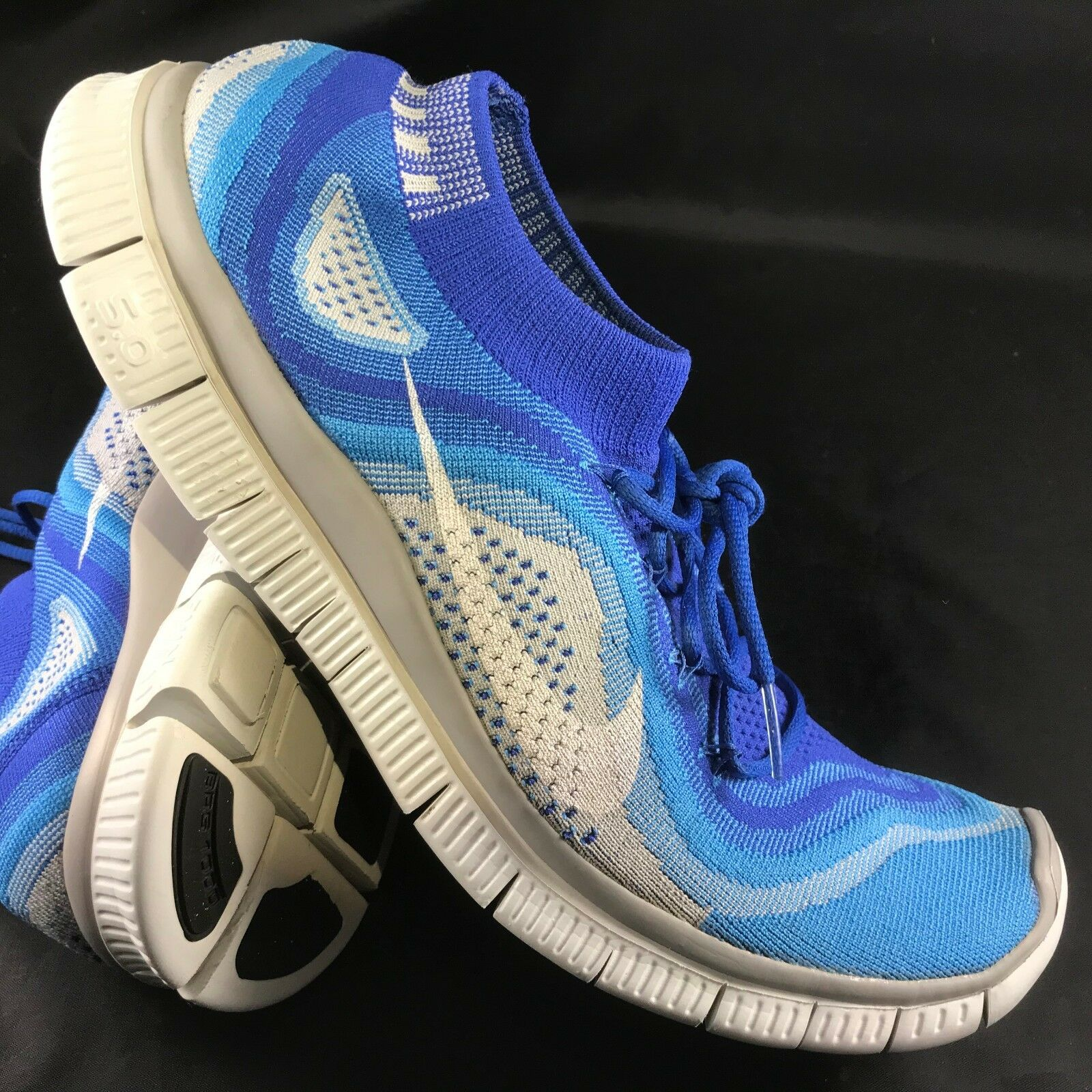 NIKE FREE 5.0 FLYKNIT 615805-414 Men's Athletic Sneakers Size 13 bluee White Grey