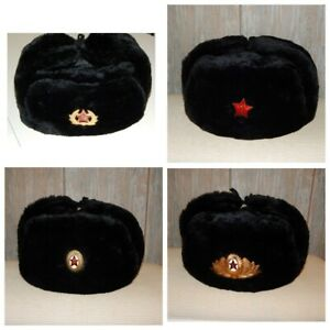 a6acb50f9 Details about Soviet Russian Ushanka USSR army soldier winter Military hat  + SOVIET ARMY BADGE