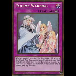 1st Edition PGL2-EN068 Solemn Warning Gold Rare
