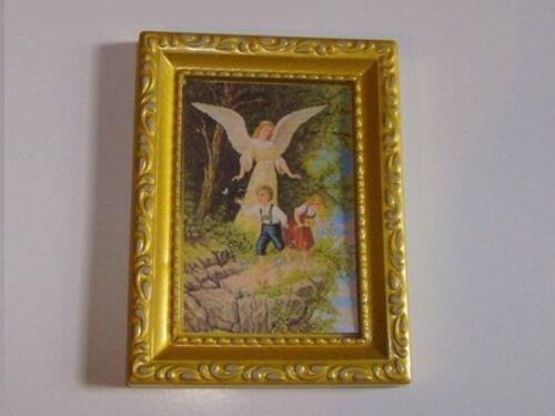 1:12 Bild gerahmt Am Abgrund und Engerl für die Puppenstube 8cm hoch BI1040