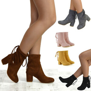 Womens-Ankle-Boots-Chelsea-Block-Heel-Stretch-Ladies-Pull-On-Booties-Size-3-8