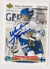 91/92 Upper Deck Czech Marko Tuomainen Team Finland Autographed Hockey Card