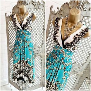 JULIEN MACDONALD UK 10 Turquoise Baroque Fit & Flare Dress Suit Mother of Bride