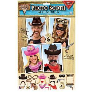 WILD-Cowboy-Western-Photo-Booth-Puntelli-SCERIFFO-Howdy-CAPPELLI-MASCHERE-CAVALLO-partito-PICS