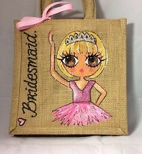 Personalizzata hand painted Damigelle Flower Girl Ballet Iuta Mini Borsa Regalo