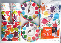 Art Party Painting - Birthday Party Supply Set Pack Kit For 16 W/ Invitations