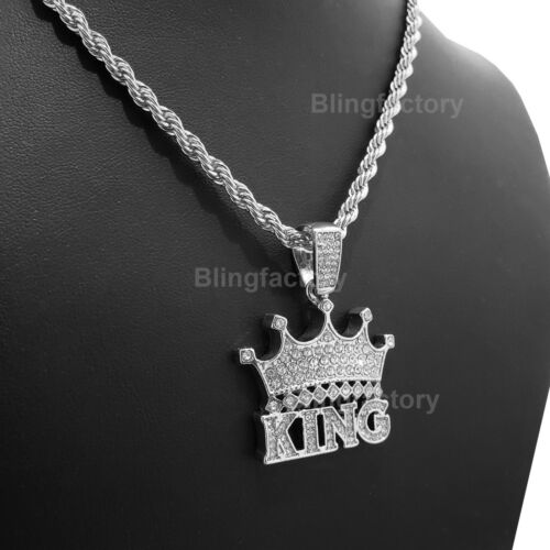 "Hip Hop Iced out Lab Diamond CROWNED KING Pendant /& 4mm 24/"" Rope Chain Necklace"