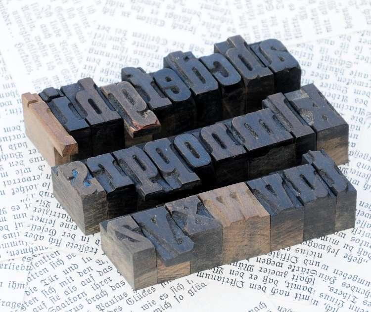 A-Z Alphabet holzlettern lettres holzbuchstaben Letter letterpress wood type