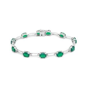 Handmade-925-Sterling-Silver-Natural-Green-Onyx-Gemstone-Bracelet-free-Shipping