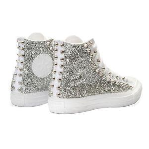 Converse Monochrome Bianche personalizzate con tessuto Glitter argento borchie