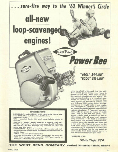 Vintage 1960/'s West Bend 610L /& 820L Go-Kart Engine Ad
