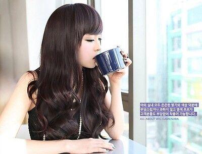 New Style Womens Girls Sexy Long Fashion Full Wavy Hair Wig Dark Black 0035-X
