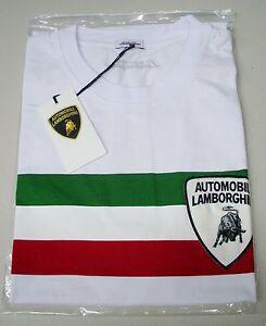 LAMBORGHINI MEN'S WHITE ITALIAN FLAG T-SHIRT  100% AUTHENTIC  OEM # 9005008CW000
