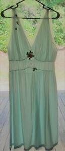 Vintage-Laros-Dacron-Nylon-MINT-GREEN-Slip-Nightgown-Chiffon-Applique-Lace-42