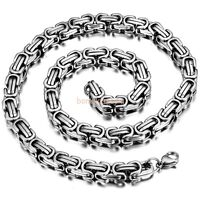 Polished Silver Stainless Steel Square Byzantine Chain Biker Mens Necklace