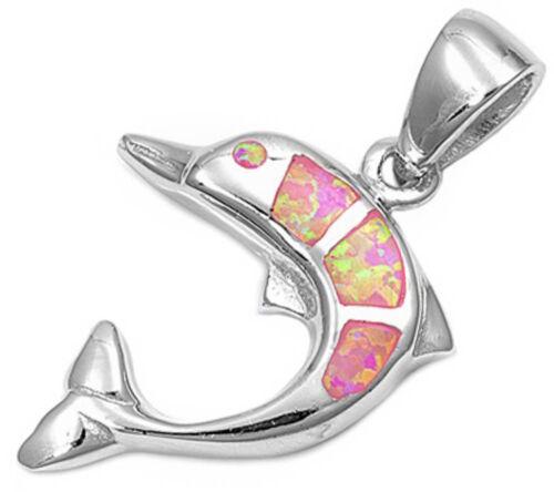 """Pink Australian Opal Dolphin .925 Sterling Silver Pendant 1/"""""""