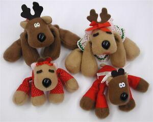 Vintage Hallmark Plush Rodney Reindeer Family Rhonda Randy Ramona Lot Of 4 CUTE