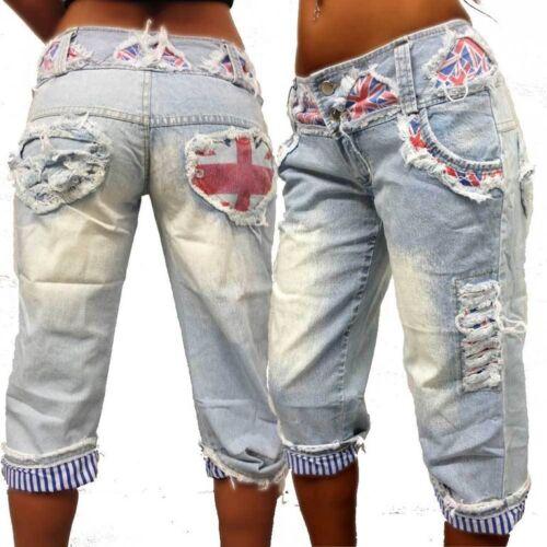 Boyfriend 3//4 Jeans Hose crazy-chris Vintage hellblau Bluejeans Caprihose XS-4XL