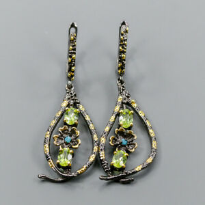 Vintage Peridot Earrings Silver 925 Sterling   /E46154