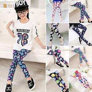 Baby-Kids-Girls-Floral-Leggings-Stretchy-Skinny-Slim-Pants-Trousers-Age-4-12Y