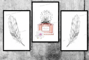 Set-of-3-Perfume-Feather-Grey-Prints-Bedroom-Print-Poster-Art-Wall-Pictures-A4