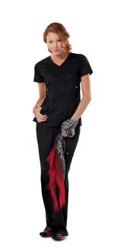 Cherokee Scrubs Mock Wrap Scrub Top 21701 Black BLKV Cherokee Jr Fit