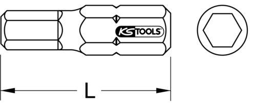 """5er Pack KS Tools 1//4/"""" CLASSIC Bit Innensechskant 25mm 5//32/"""""""