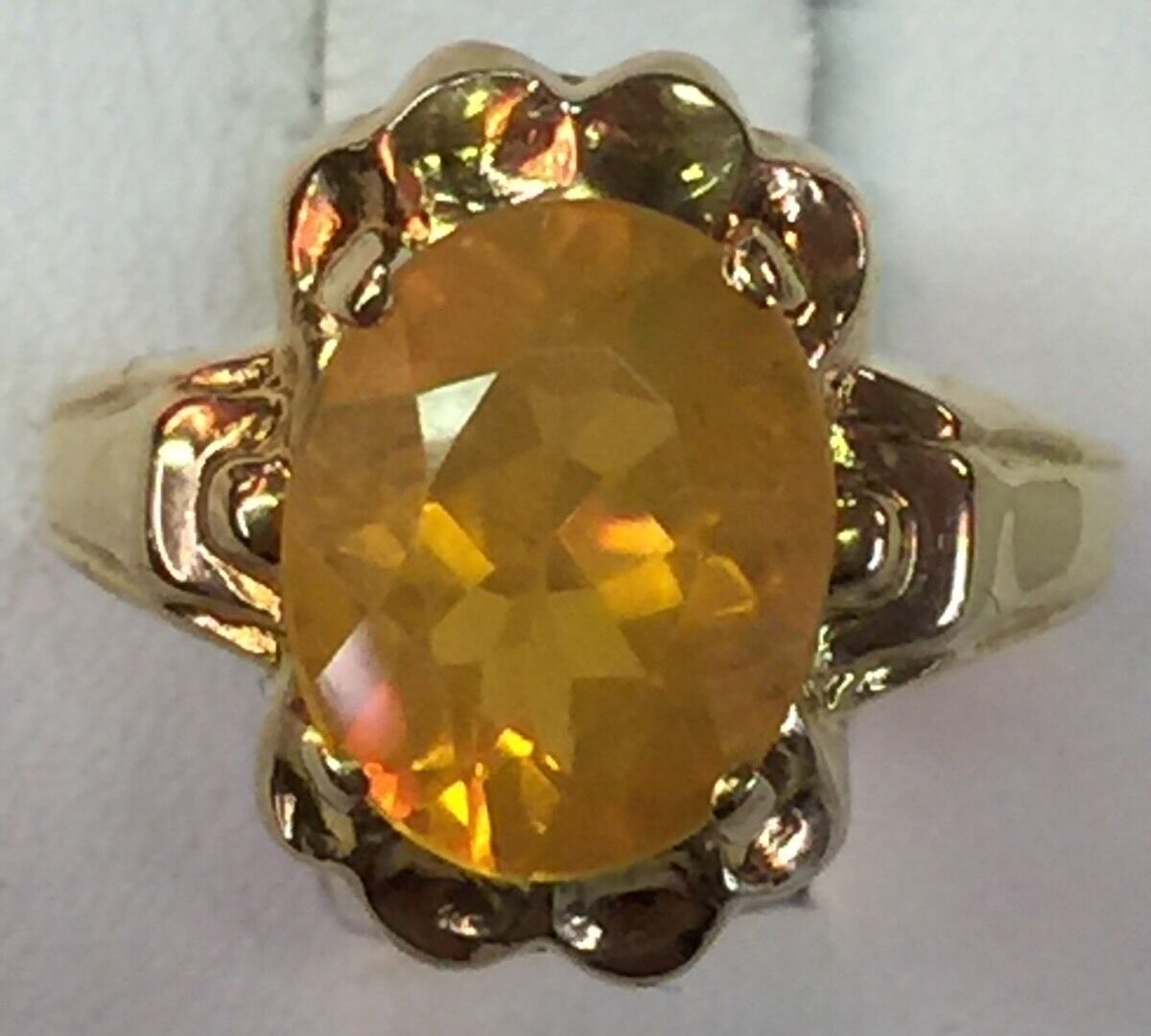 Ostby Barton Vintage Mexican Fire Opal 10K Solid Yellow gold Ring Size 6