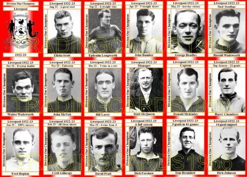 Liverpool 1923 división uno Campeones Fútbol Trading Cards 1922-23
