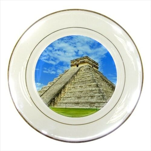 Chichen Itza Mayan Civilization Porcelain Plate w// Display Stand