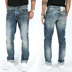 Nudie-Herren-Slim-Straight-Fit-Jeans-Hose-Grim-Tim-Used-Blackcoated