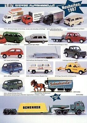 Rietze Automodelle Neuheiten 1987 Prospekt Modellautos Brochure Model Cars Esite