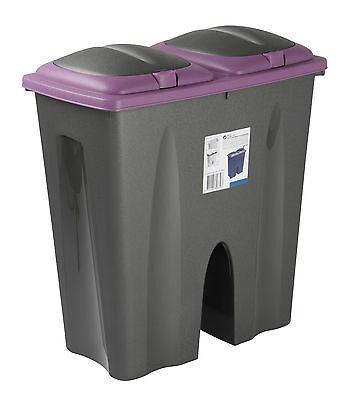 Double Recycling Waste Bin Duo Rubbish Plastic Cardboard Disposal 2 x 25 Litre