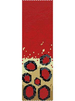 Red Dots Peyote Cuff Beaded Bracelet Pattern by Karen Zumbrun