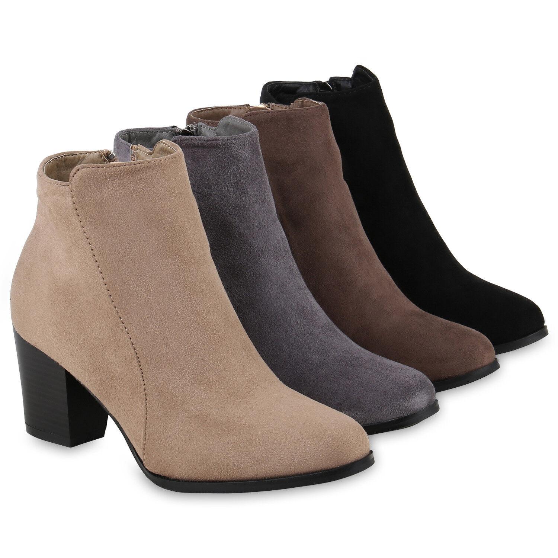 Klassische Damen Stiefeletten Lederoptik Boots Block Absatz 811875 Schuhe