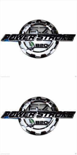 2X Chrome Super Duty 6.7L Power Stroke Diesel B20 Badges Emblem Fender  For Ford