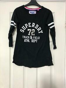 Superdry-Black-T-Shirt-Taille-S-pour-femme-a-manches-longues-tres-bon-etat-D717